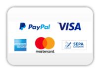 Akzeptierte Zahlungsarten: VISA, MasterCard, AmericanExpress, SEPA Lastschrift, PayPal